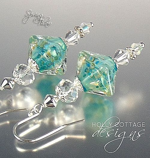 Artisan crafted earrings - aqua and crystal