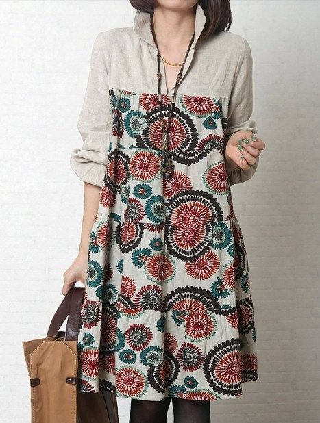 Loose dress/big yards of dress/ cotton and linen by warmhomeland