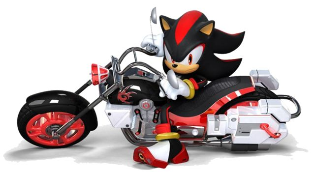 Shadow The Hedgehog With His Motorbike For Sonic And Sega