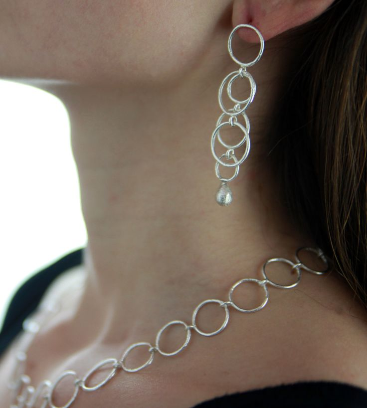 Hoop wrist, Handmade silver 925 earring for women, Inspired and handmade by Agori Fotopoulou, Length: 7cm