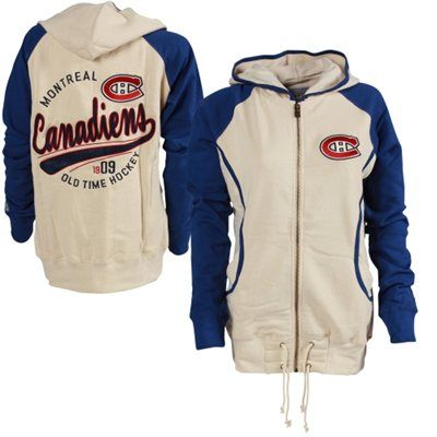 Old Time Hockey Montreal Canadiens Women's Cream/Royal Blue Mel Hoodie