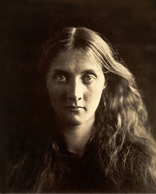 "Julia Margaret Cameron, ""Julia Jackson,"" 1867. Albumen silver print from glass negative, 27.4 x 20.6 cm (10 13/16 x 8 1/8 in.). The Metropolitan Museum of Art. This ethereal image is of an almost bodiless entity, as we might imagine a portrait of the soul or of a psychic state laid bare. The subject is Cameron's namesake and niece, Julia Jackson, at the age of twenty-one and shortly before her marriage to Herbert Duckworth. The more than twenty portraits of Julia are exceptional in the ..."