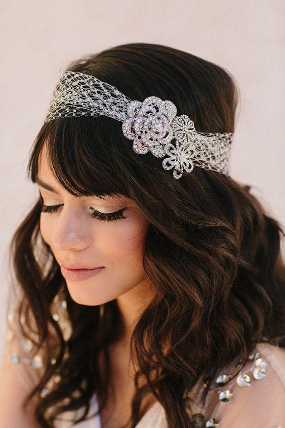 Mallory Russian Veiling Headband, Rhinestone Headband, Tiara, Halo, Wedding Headpiece, Bridal Hair Piece, Ships in 1 Month