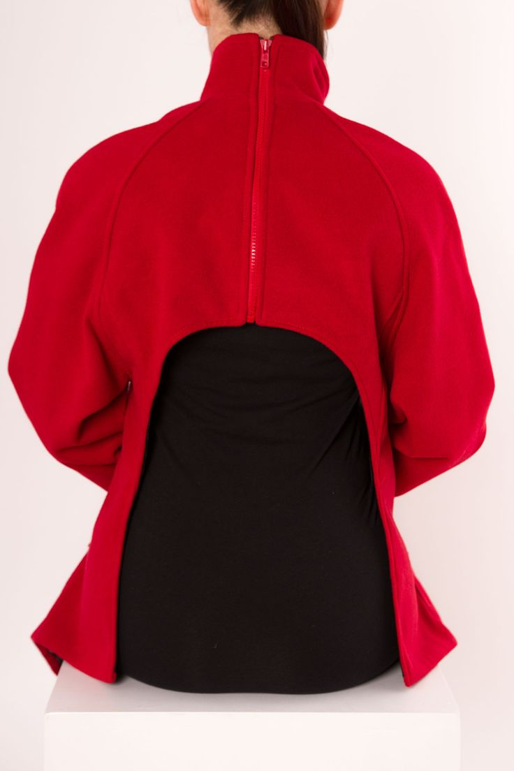 Open Back Funnel Neck Coat