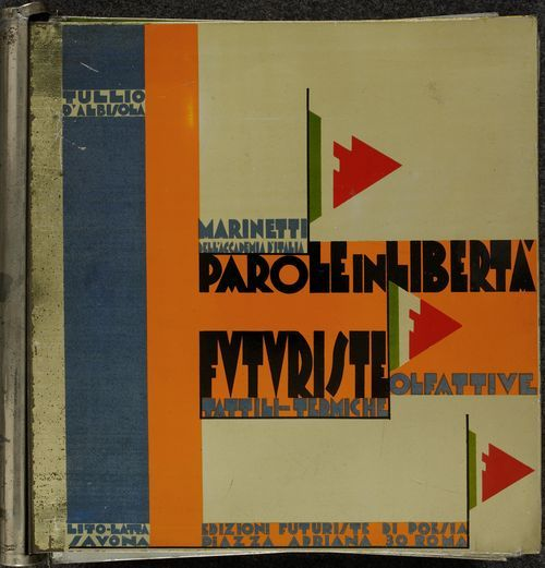 From the European Studies blog post 'The Tin Book'. Image: Cover of Filippo Tommaso Marinetti/Tullio d'Albisola Parole In Libertà Futuriste Olfattive Tattili Termiche (Rome, 1932).