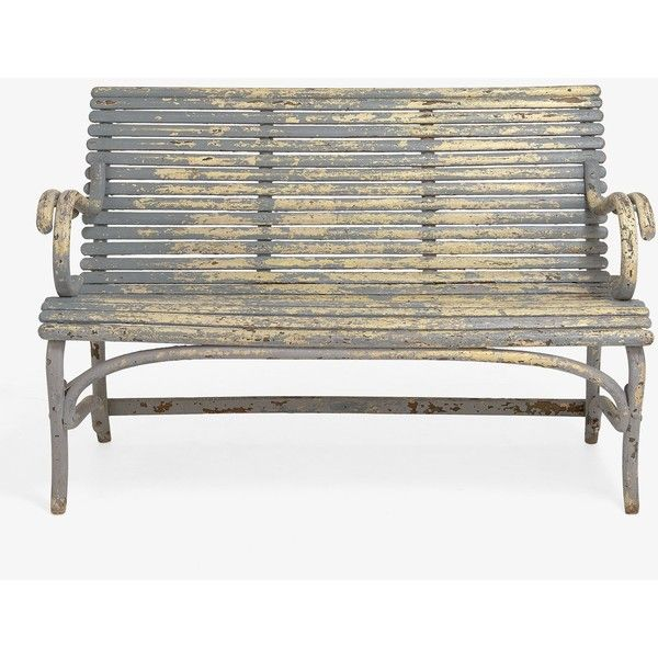 Vintage Blue Garden Bench ($2,100) ❤ liked on Polyvore featuring home, outdoors, patio furniture, outdoor benches, vintage table chairs, vintage dining set, blue outdoor furniture, vintage dining table set and vintage bar cart