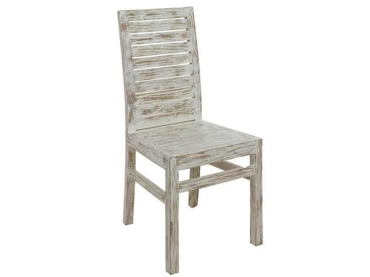 Comprar silla vintage fabricada en madera de mindi y acabada en un precioso tono blanco envejecido con un marcado efecto decapado de gran belleza.
