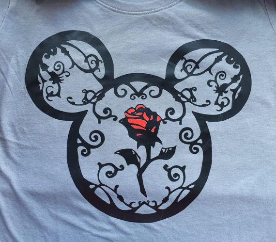 Disney Shirt, Beauty And The Beast, Mickey Head, Vine And