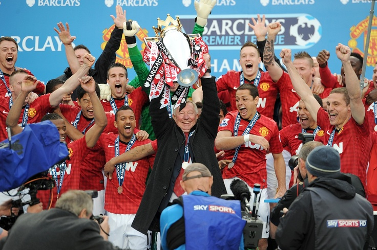 ~ Sir Alex Ferguson of Manchester United lifting the Barclays Premier League Trophy one last time ~