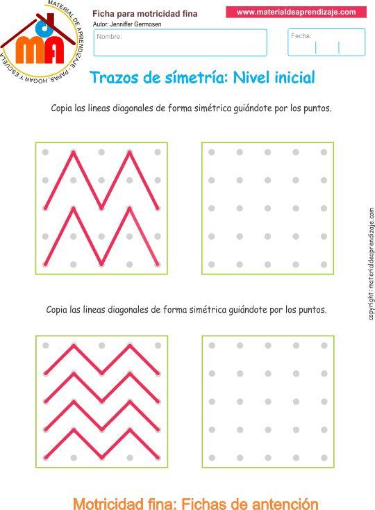 Trazos de simetría ejercicio 4:Copia las líneas diagonalesde forma…