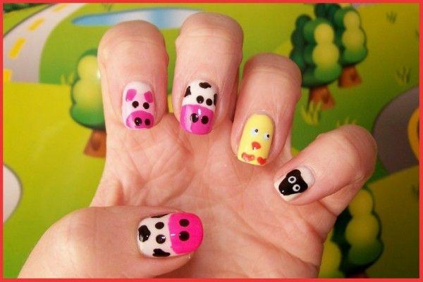 Nail Art Cute Farm Animals  #NailDesigns #Nails #NailArt #Animals #MediumNails #NailArtDesigns