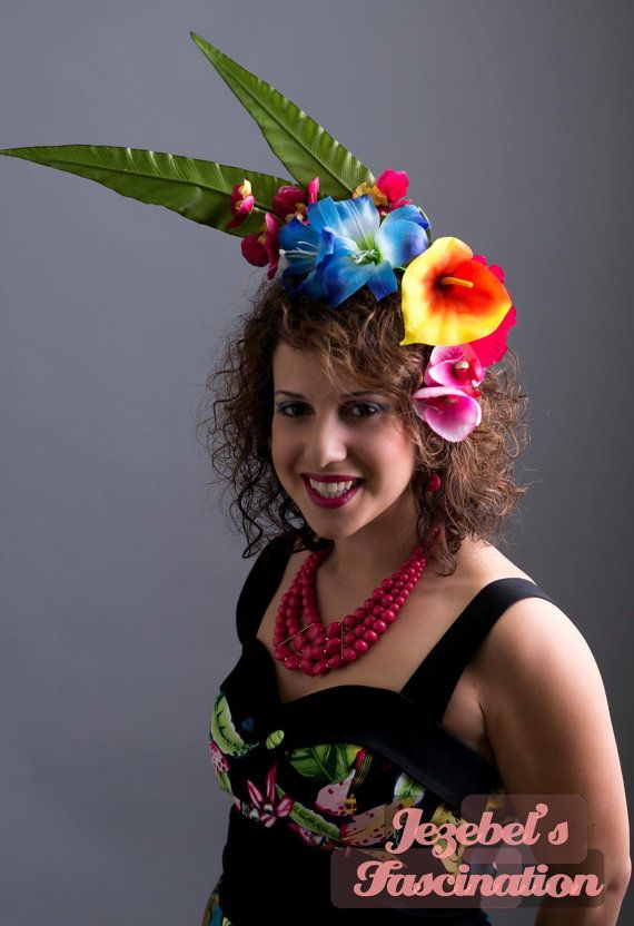 Hawaiian Heat - Blue Tropical Hawiian Flower Headdress Orange Calla Lily Headpiece Polynesian Daylily Fascinator Fuschia Pink Orchid Floral Crown Exotic Yellow by JezebelsFascination