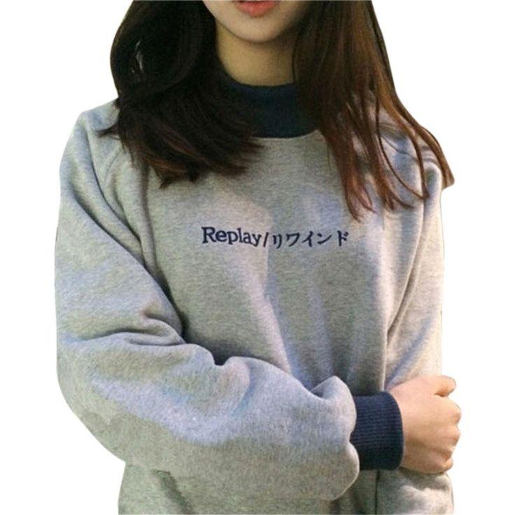 Autumn Winter Harajuku Vintage Monogram Embroidery Thin Hoodies Full Sleeve Sweatshirt Loose Casual Lover Shirt Top Gray Color