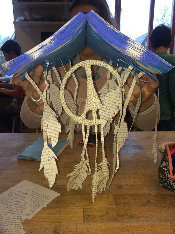 Dit is mijn eindwerk. Ik moet alleen nog verzinnen hoe ik het ga ophangen. Waarschijnlijk met twee dikke ijzerdraadjes of dik touw en dan vastknopen aan het voorwerp waar die aan gaat hangen. Ik vond het best wel een lastige opdracht want het was heel vrij en ik had in het begin weinig inspiratie. Daarna ging het steeds makkelijker en kon ik mijn eigen idee helemaal uitwerken. Ik ben tevreden met het resultaat ook al is het niet een prachtig kunstwerk.