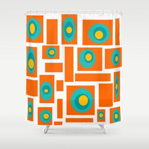 Orange  Shower Curtain Mid Century Modern by crashpaddesigns