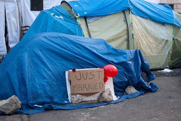 Very sweet - spotted in the protest camp next to St Paul's Cathedral, London, yesterday afternoon