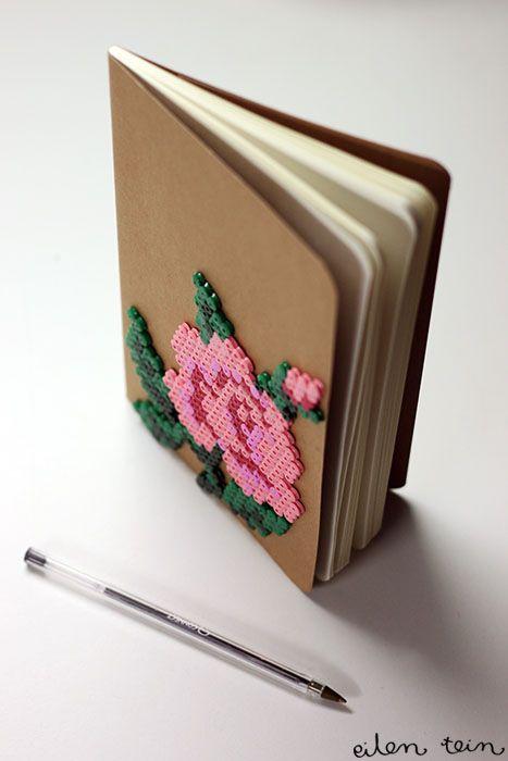 DIY : notebooks decorated with perler beads. Sur un carnet dill et ca....