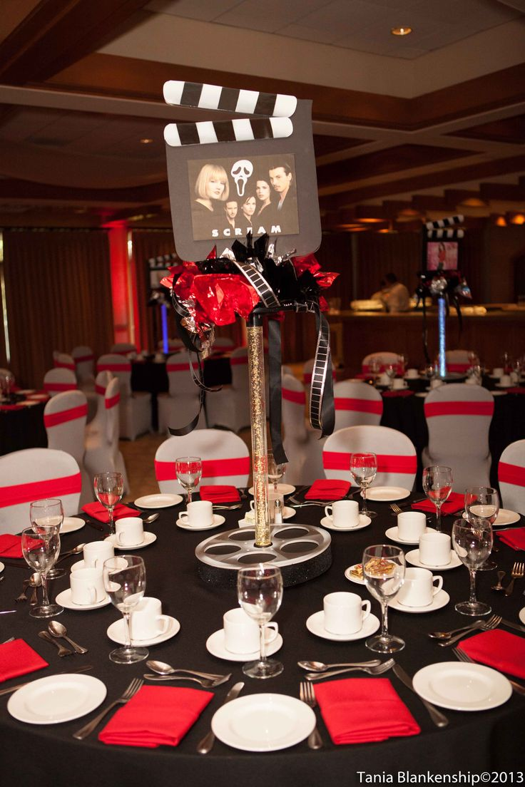 Movie theme bar bat mitzvah - tall centerpiece - red and black - film - hollywood - DB Creativity - laura@dbcreativity.com