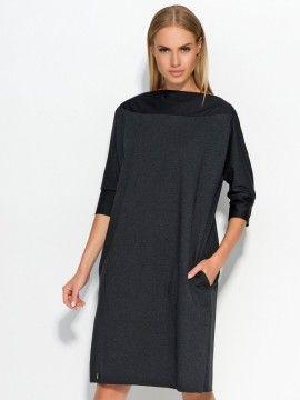 Makadamia Dámské šaty m317_graphite melange