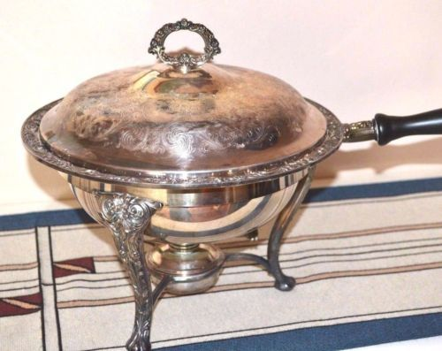 Rogers-Silver-Plate-Burner-Chafing-Dish-Insert-Lid-Ornate-Victorian-Rose-Vintage