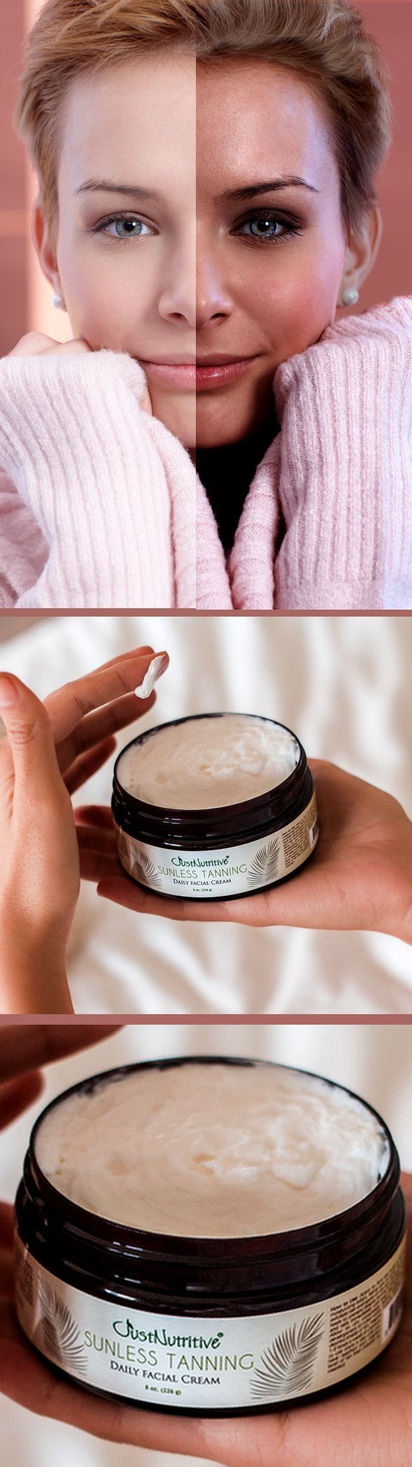 Sunless Tanning - Daily Facial Cream. •Finally, getting a natural glow only our face is easy! Get a beautiful subtle facial tan while keeping your skin moisturized and healthy