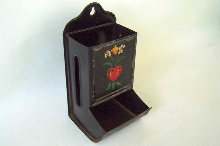 Vintage Matchbox Holder, Black Metal with Vintage Tole Painted Flowers, Vintage Trailer Decor by ClassicCamping on Etsy