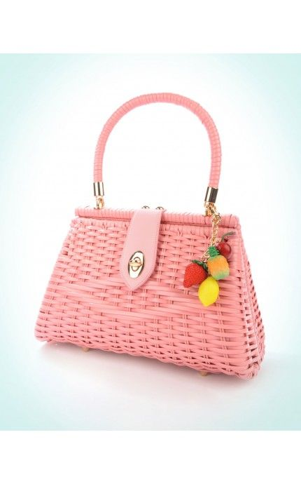 Pinup Couture Handbags Pink Wicker purse with Rose Gold hardware and removable Fruit Charm. | Pinup Girl Clothing