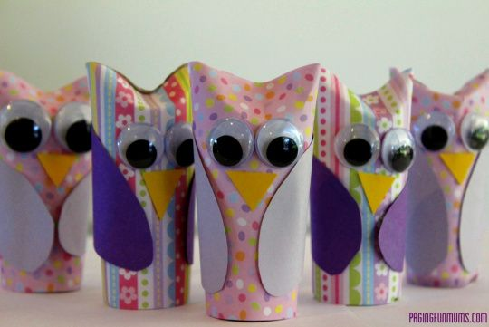 Cute owls made out of toilet paper rolls