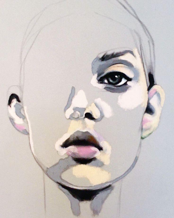 Portrait work in proess. Oil Pastel on paper. Artist Emma Tingård