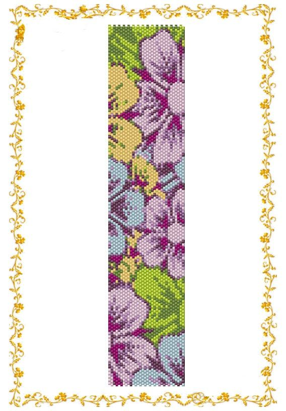 Pattern beading peyote Bracelet cuff Flower garden. Template for Delica 11 Dimensions: 7,47 inches (rows108) of 1,7 inches (columns 32). You need 9