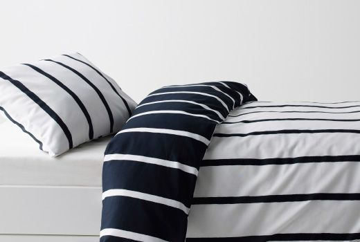 Cabin Bedroom/ all white walls IKEA Bedding
