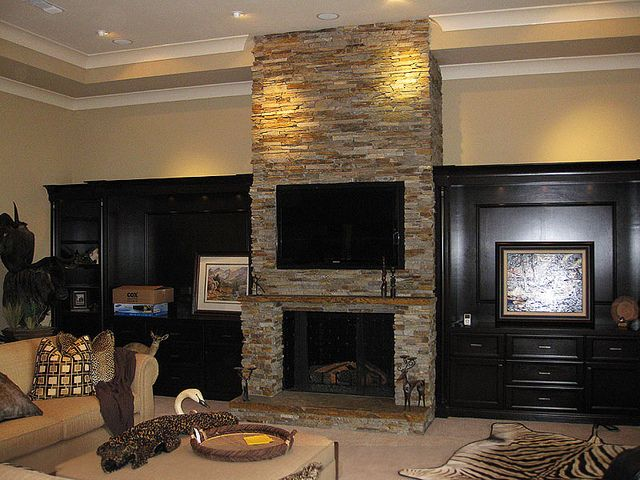 Natural ledgerstone indoor fireplace with one piece stone mantel and hearth | Flickr - Photo Sharing!