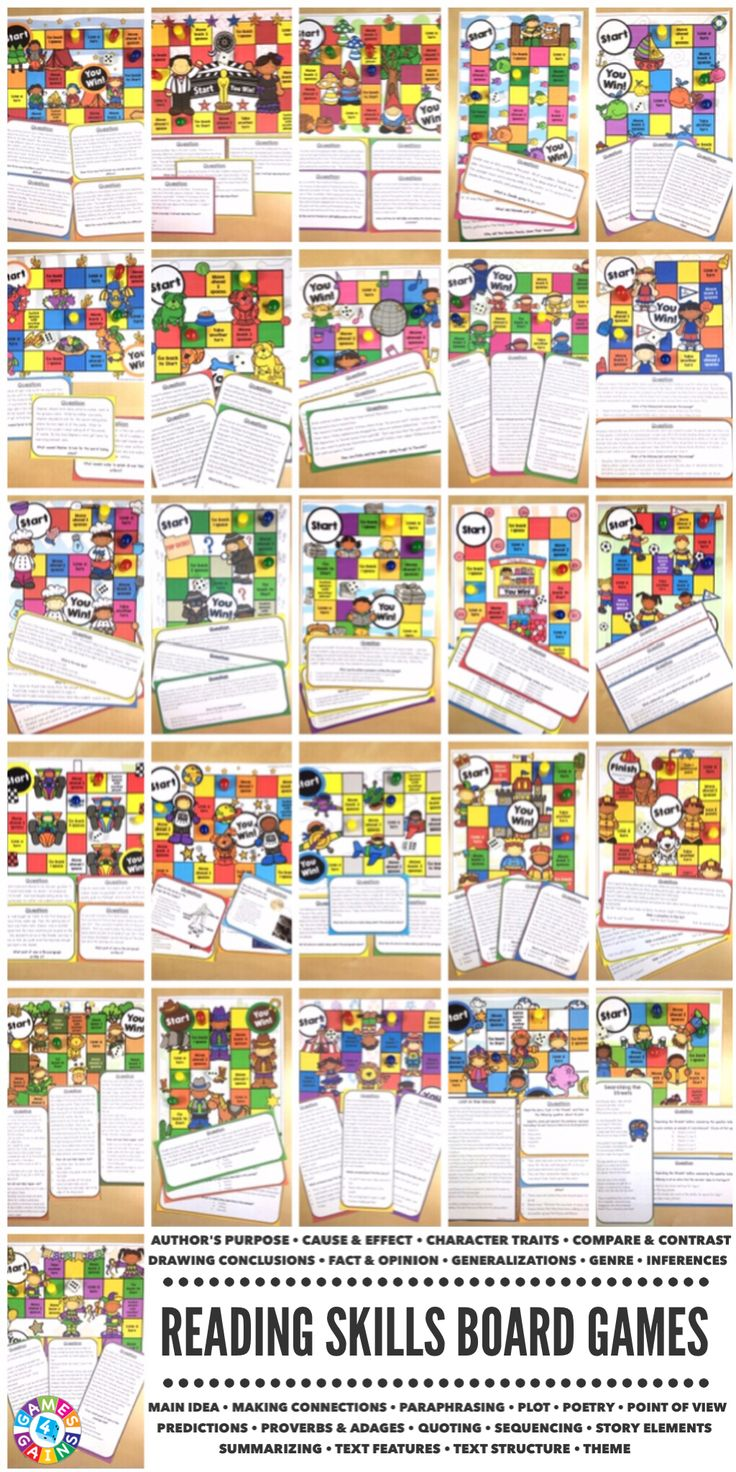 """My students ask to play these everyday!"" Students will love practicing a variety of reading skills with these engaging reading board games. Each game comes with a game board and 25+ game cards to help student practice these skills in a fun and exciting way!  Collect them all!"