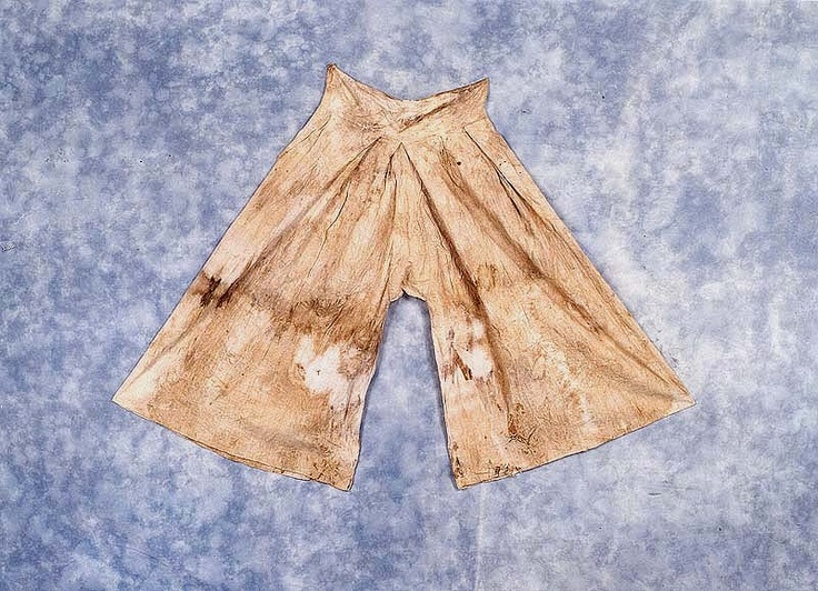 "Unlined trousers (hotbaji), from the ""tomb of Go Un (1479-1530), a leading figure representing the Neo-Confucian literati based in the Honam (Jeolla) region during the mid-Joseon Dynasty.... Made of cotton, ramie and silk, the clothes appear to have been worn by Go Un while he was alive."" Important Folklore Cultural Heritage 239."