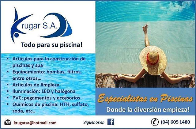 Para su proyecto de piscina o jacuzzi, somos Krugar S.A. ofreciéndoles una gama completa en equipos de piscina y demás productos , incluyendo artículos de mantenimiento y químicos.  Llámanos a nuestro número: 04 605 1480  #piscinas #ecuador #gye #vialacosta #viasamborondon #guayaquil #enviogratis #jacuzzis #salinas #bombasdeagua #filtros #quimicos #clorinadores #jacuzzis #piscina #mantenimientodepiscinas #construcciondepiscinas #fuentes #chorrosdeagua #piletas #piscinasec #piscinasecuador…