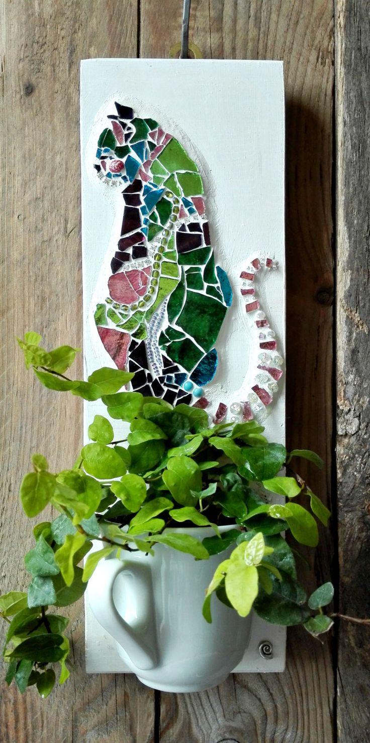 Cat, gatto, mosaico, garden, flowerpot, fioriera, flower, pink, delicato, giardino,tazza, ceramica, relax di CurlyCraftCreation su Etsy