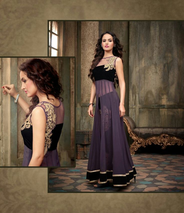 Exclusive designer dress....pure georgett nd net material...for detail  Visit : www.mybest.in