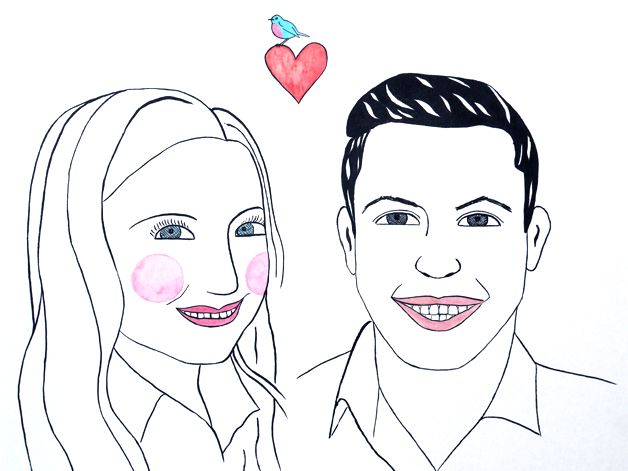 Portrait Paar, lustig, comicartig, liebevoll, Karikatur, Tusche auf Künstlerpapier Din A4