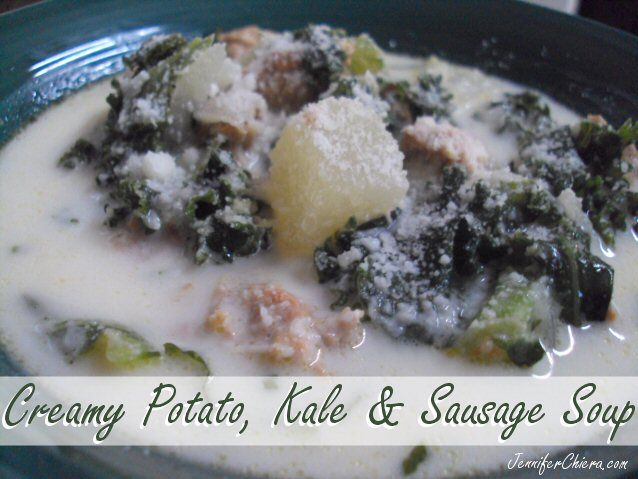 Creamy potato, kale, and sausage soup - for the slow cooker. So ...