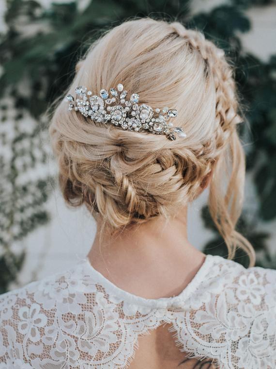 "Perlen Haar Kamm, Braut Kamm, Boho Haar Kamm, Braut Accessoires - ""Collette"" Vintage Perlen Haar C"