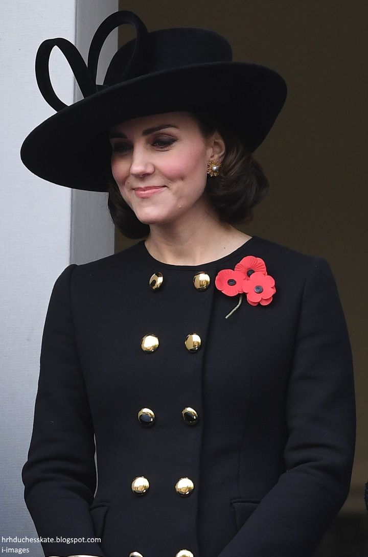 hrhduchesskate: Remembrance Sunday, Cenotaph, November 12, 2017-Duchess of Cambridge smiles as she looks down at the Duke of Cambridge laying his wreath