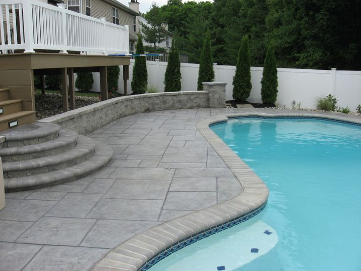 Imposing Pavers Or Stamped Concrete Around Pool With New England Vinyl Post Caps For Vinyl