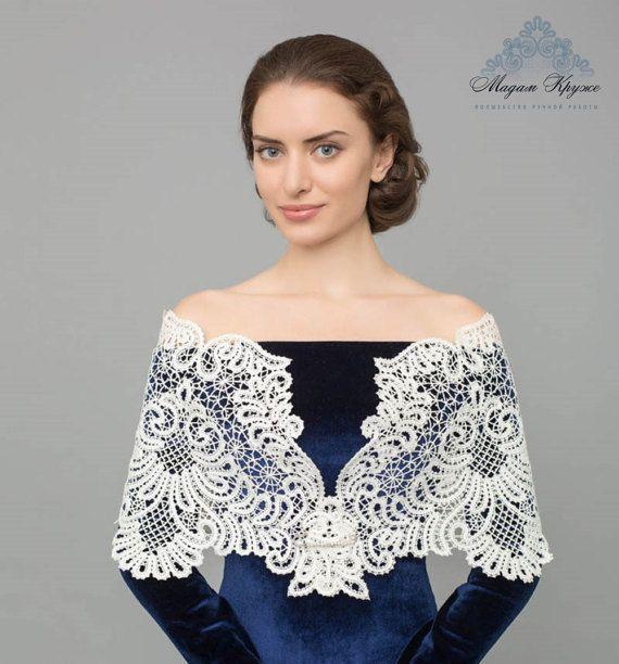 "Lace stole ""Ladies fancy"" Russian bobbin lace handmade lace stole ladies night stole for bride"