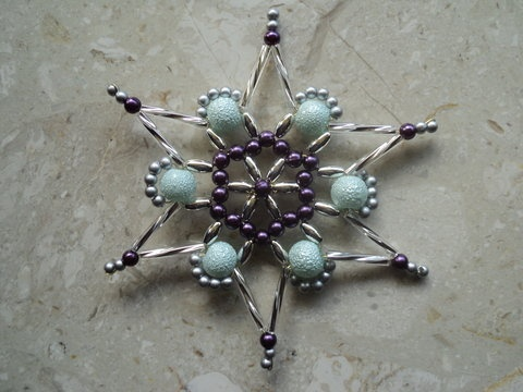 Beaded snowflake:  i've made lots of these but like this unusual color combo
