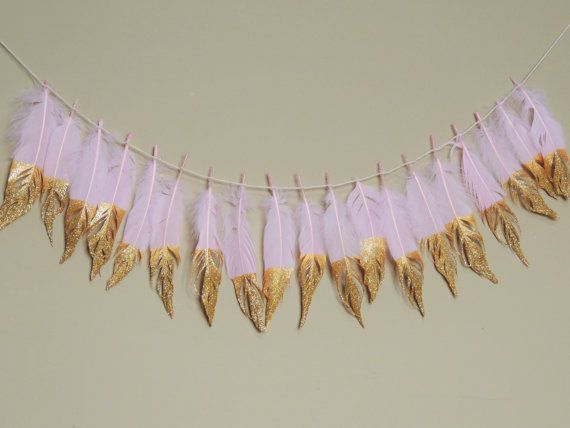 Gold Dipped Feather Garland Boho Tribal Nursery Decor Wedding Feathers Baby Shower Bohemian Glitter Tipped Feather Backdrop