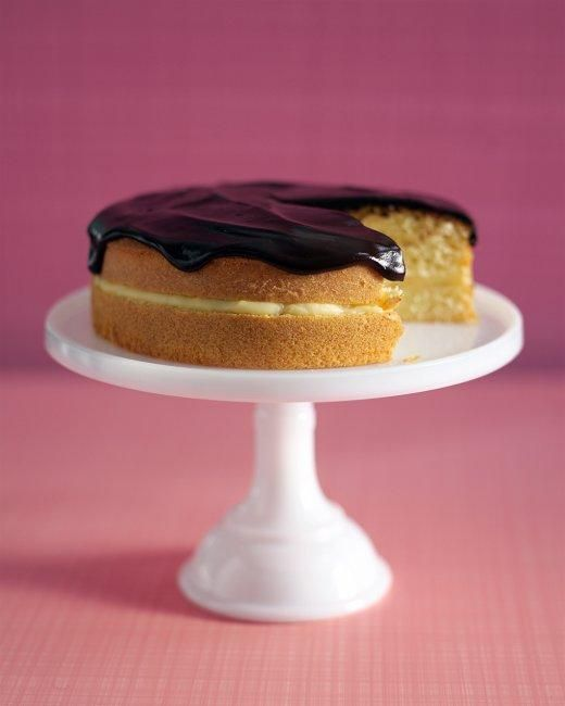 Boston Cream Pie--mom's go-to dessert for special occasions, served on a pedestal, just like this.
