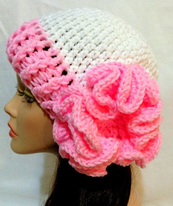 Crochet For Cancer : Breast Cancer Awareness Crochet Flower Hat by Africancrab on Etsy,