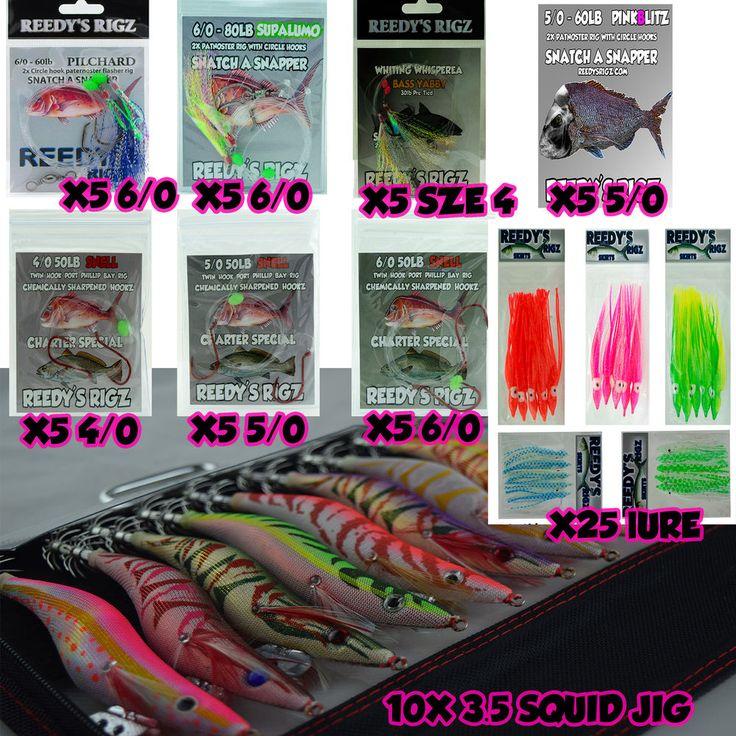 Snapper Snatchers Fishing Tackle Gift Pack Start Kit Squid Jigs Rigs Season Bag #ReedysRigz
