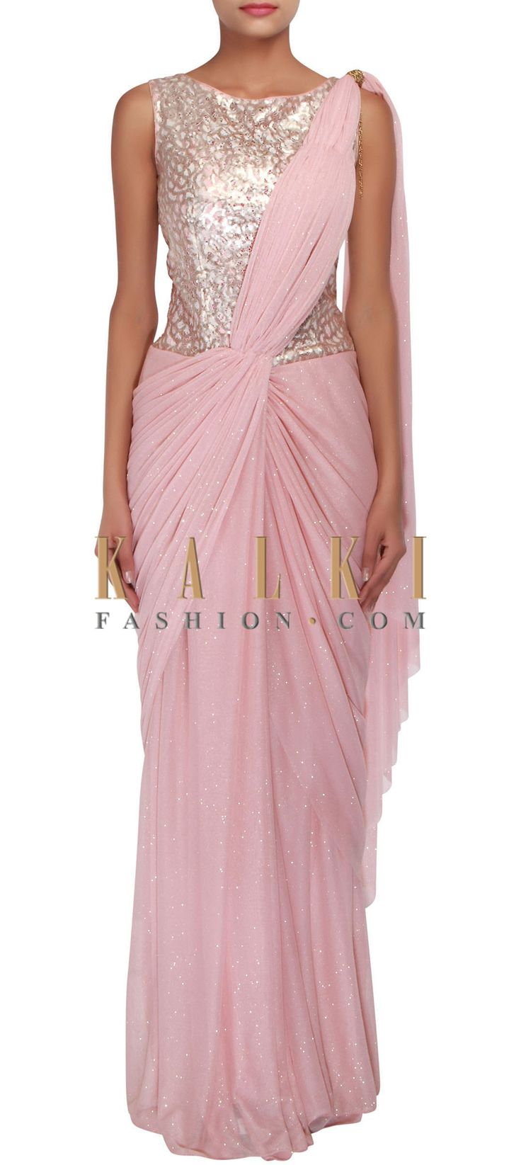 Buy Online from the link below. We ship worldwide (Free Shipping over US$100) http://www.kalkifashion.com/peach-saree-gown-adorn-in-sequin-and-cowl-drape-only-on-kalki.html