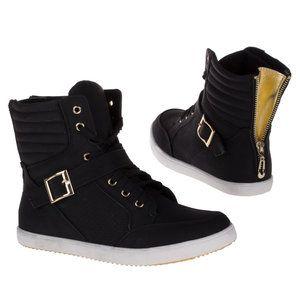 Dames sneakers / halfhoge gympen met gesp - zwart